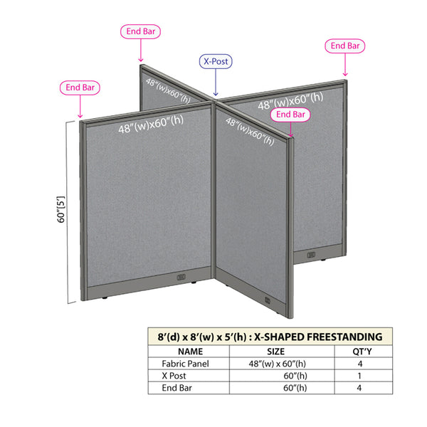 GOF Office X-Shaped Partition 96D x 96W x 60H - Kainosbuy.com