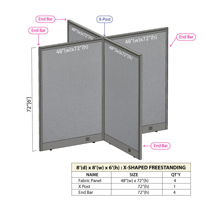 GOF Office X-Shaped Partition 96D x 96W x 72H - Kainosbuy.com