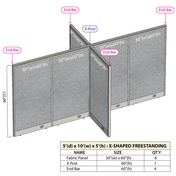 GOF Office X-Shaped Partition 60D x 120W x 60H - Kainosbuy.com