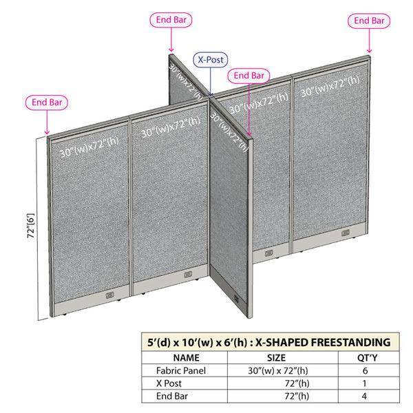 GOF Office X-Shaped Partition 60D x 120W x 72H - Kainosbuy.com
