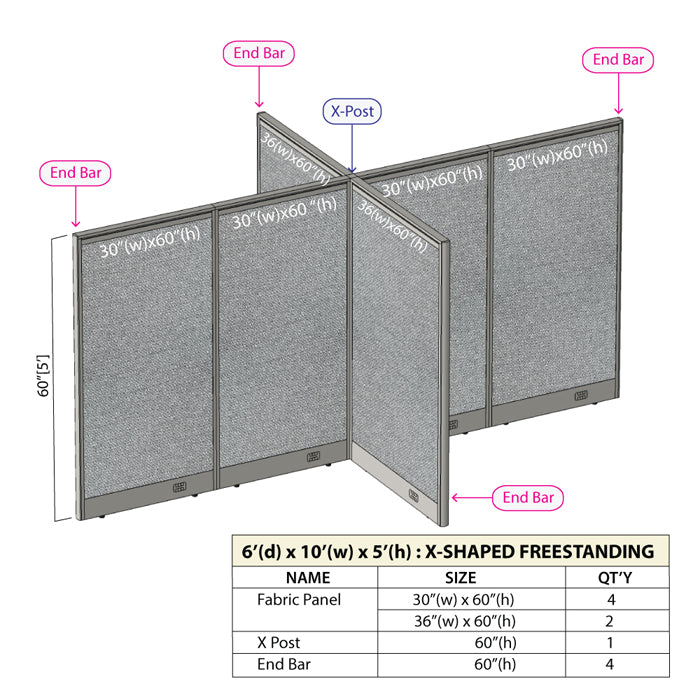 GOF Office X-Shaped Partition 72D x 120W x 60H - Kainosbuy.com