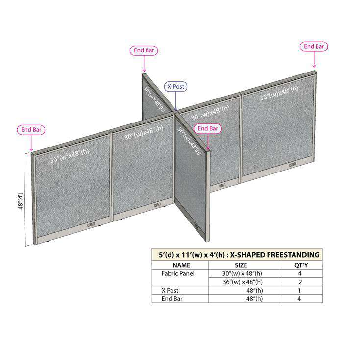 GOF Office X-Shaped Partition 60D x 132W x 48H - Kainosbuy.com