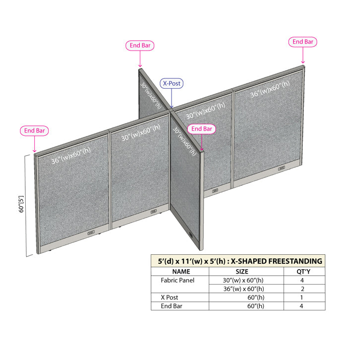 GOF Office X-Shaped Partition 60D x 132W x 60H - Kainosbuy.com