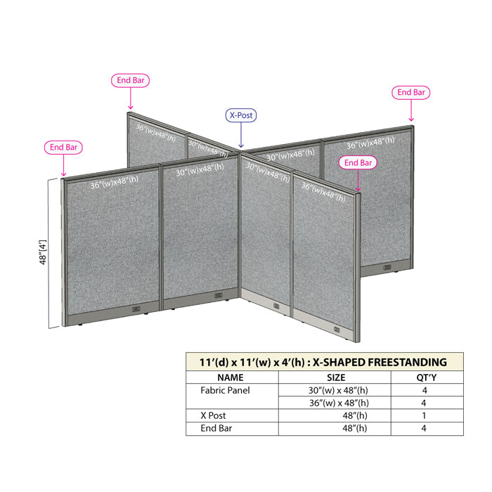 GOF Office X-Shaped Partition 132D x 132W x 48H - Kainosbuy.com