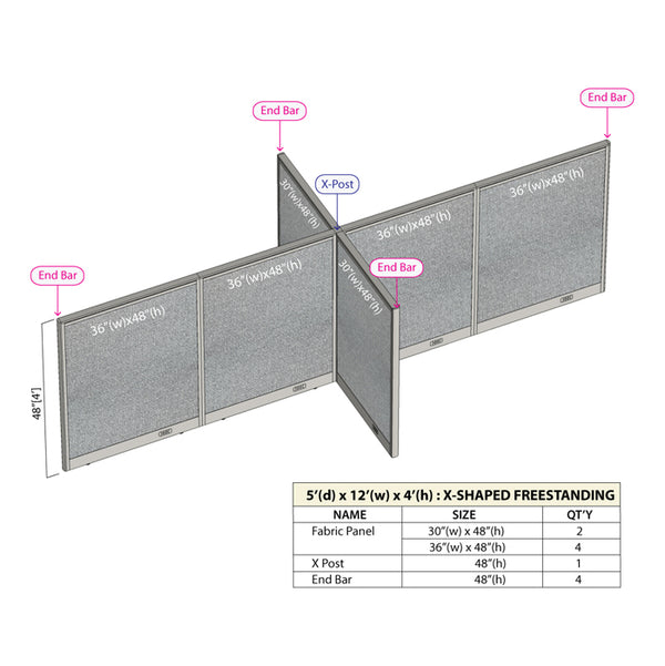 GOF Office X-Shaped Partition 60D x 144W x 48H - Kainosbuy.com