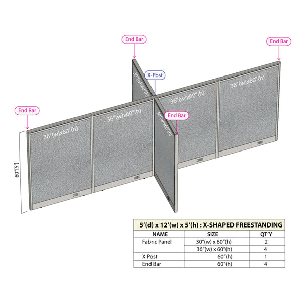 GOF Office X-Shaped Partition 60D x 144W x 60H - Kainosbuy.com