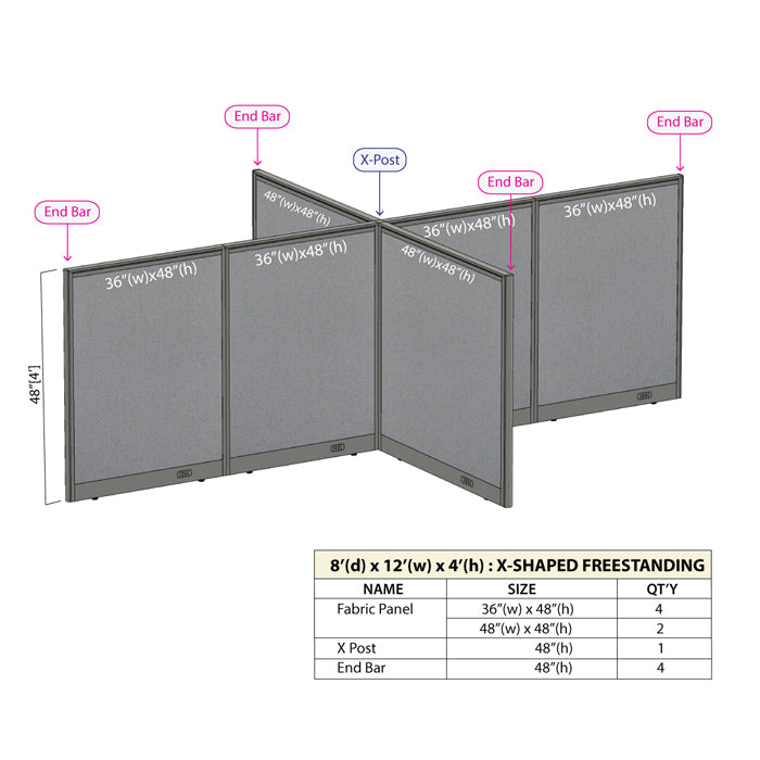 GOF Office X-Shaped Partition 96D x 144W x 48H - Kainosbuy.com