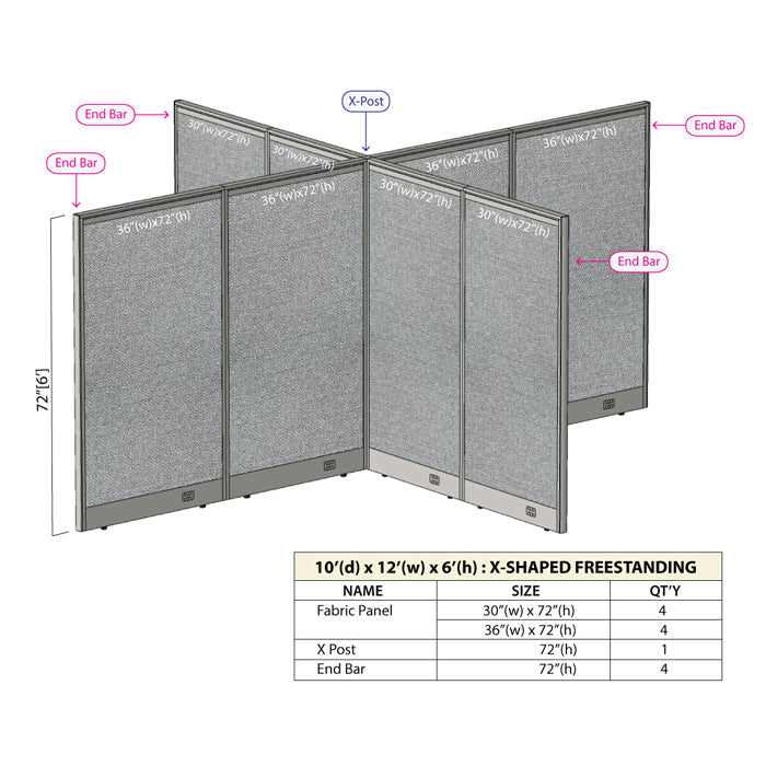 GOF Office X-Shaped Partition 120D x 144Wx 72H - Kainosbuy.com