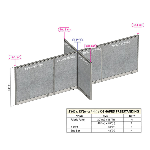 GOF Office X-Shaped Partition 60D x 156W x 48H - Kainosbuy.com