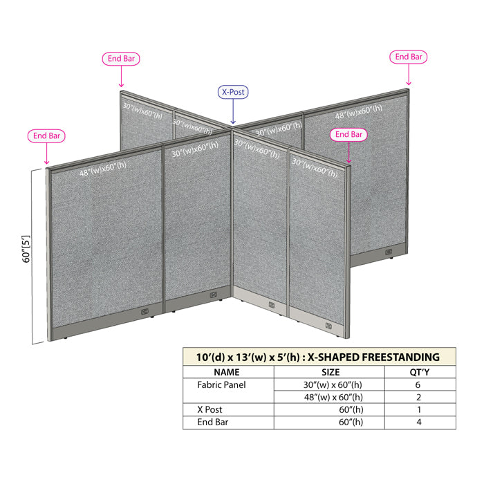 GOF Office X-Shaped Partition 120D x 156Wx 60H - Kainosbuy.com