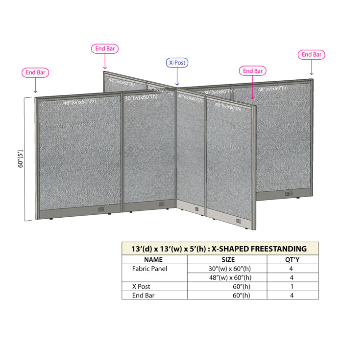 GOF Office X-Shaped Partition 156D x 156W x 60H - Kainosbuy.com