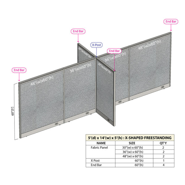 GOF Office X-Shaped Partition 60D x 168W x 60H - Kainosbuy.com