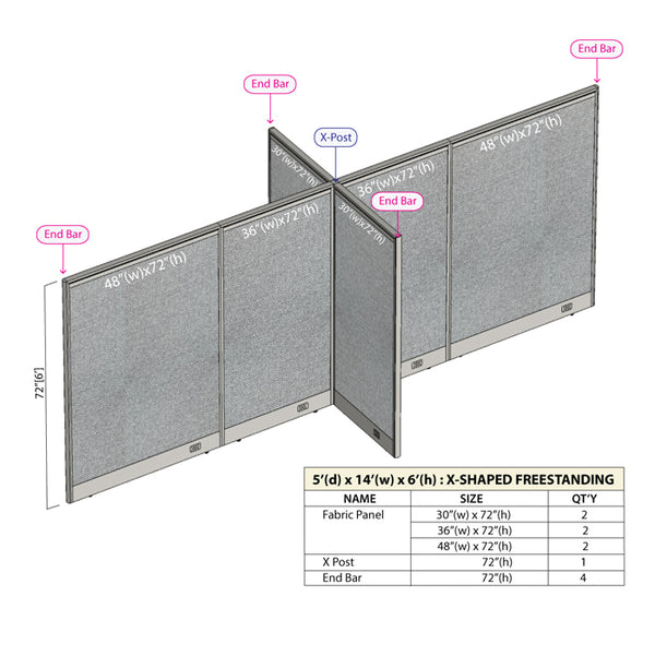 GOF Office X-Shaped Partition 60D x 168W x 72H - Kainosbuy.com