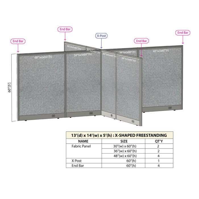 GOF Office X-Shaped Partition 156D x 168W x 60H - Kainosbuy.com