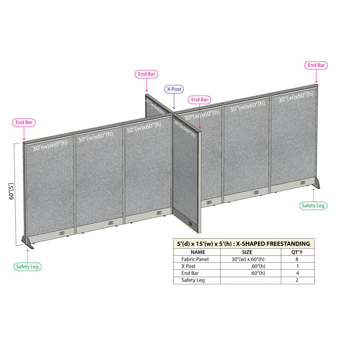 GOF Office X-Shaped Partition 60D x 180W x 60H - Kainosbuy.com