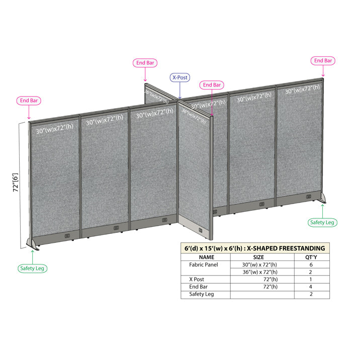 GOF Office X-Shaped Partition 72D x 180W x 72H - Kainosbuy.com