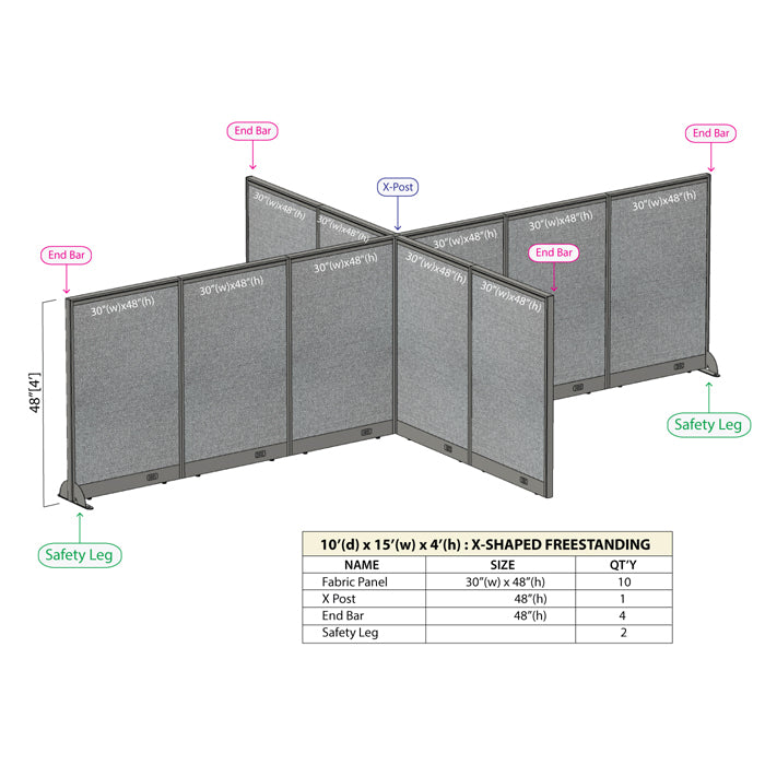 GOF Office X-Shaped Partition 120D x 180Wx 48H - Kainosbuy.com