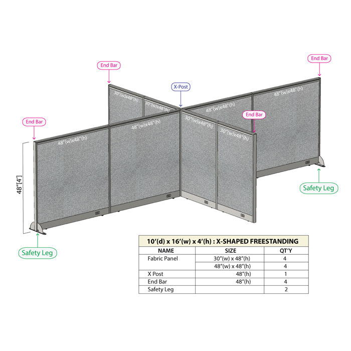 GOF Office X-Shaped Partition 120D x 192Wx 48H - Kainosbuy.com
