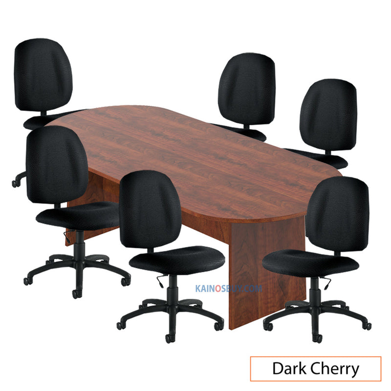 8ft. Racetrack Conference Table with<br>6 Chairs(G11650B) - Kainosbuy.com