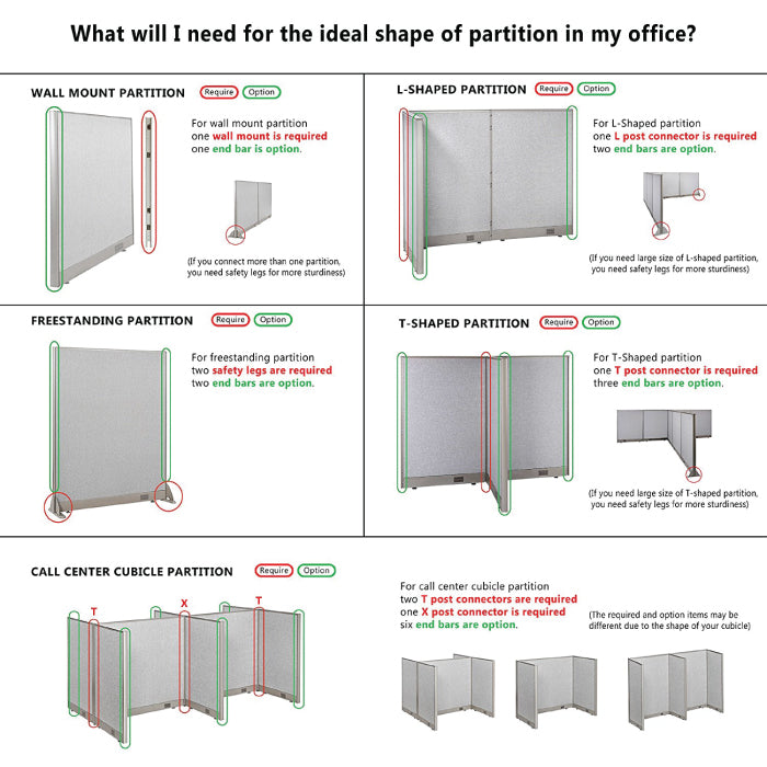 GOF Office T-Shaped Partition 66D x 240W x 48H - Kainosbuy.com