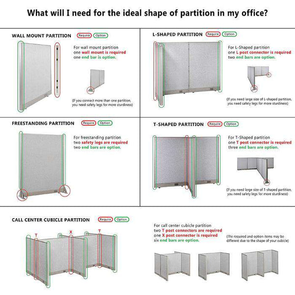 "GOF Office L-Shaped Partition 60""H - Kainosbuy.com"