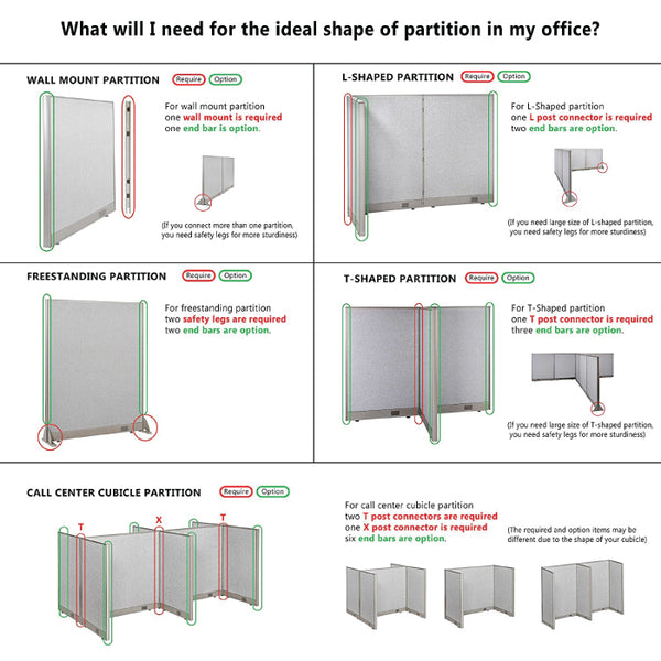 GOF Office L-Shaped Partition 30D x 30W x 72H - Kainosbuy.com