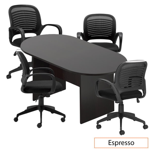 6ft. Racetrack Conference Table with <br>4 Chairs (G10901B) - Kainosbuy.com