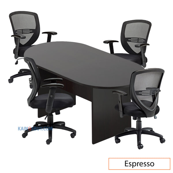 6ft. Racetrack Conference Table with<br>4 Chairs (G11320B) - Kainosbuy.com