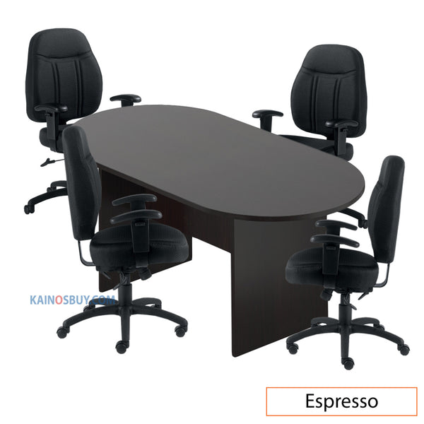 6ft. Racetrack Conference Table with<br>4 Chairs (G11651B) - Kainosbuy.com