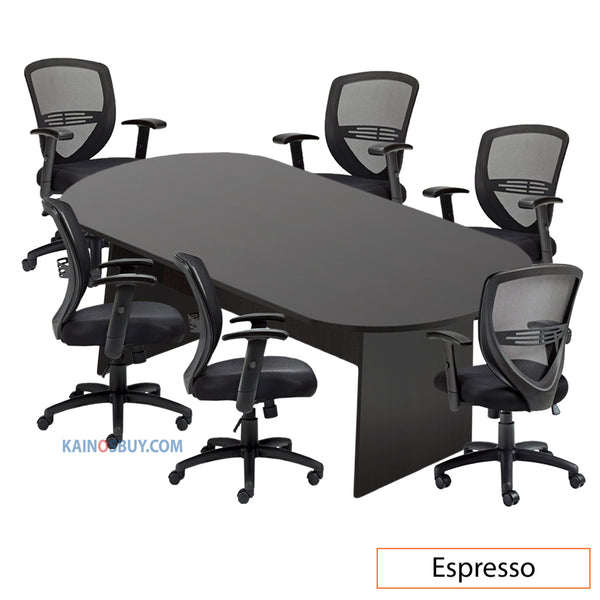 8ft. Racetrack Conference Table with<br>6 Chairs (G11320B) - Kainosbuy.com