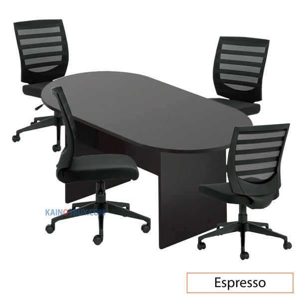 6ft. Racetrack Conference Table with<br>4 Chairs (G11922B) - Kainosbuy.com