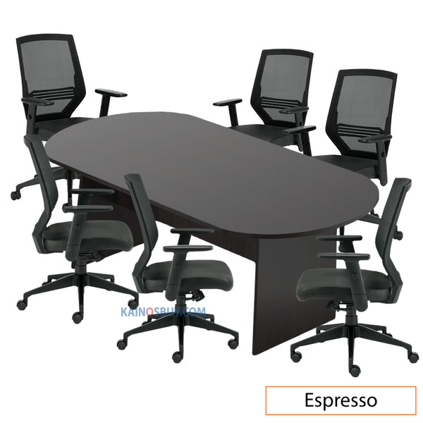 8ft. Racetrack Conference Table with<br>6 Chairs (G12112B) - Kainosbuy.com