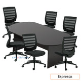 8ft. Racetrack Conference Table with<br>6 Chairs(G11922B) - Kainosbuy.com