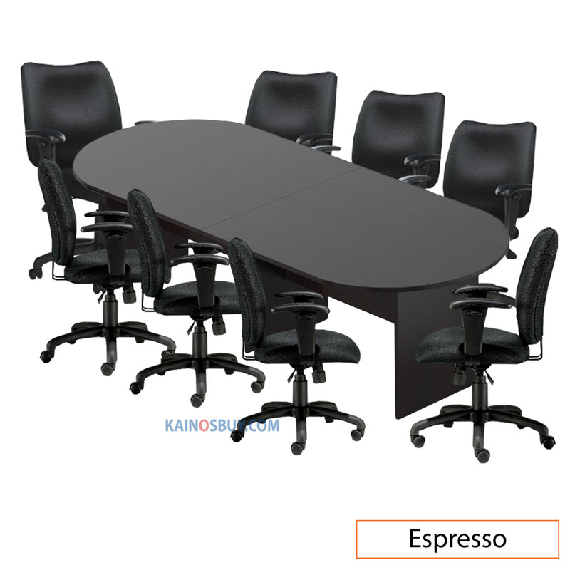 10ft. Racetrack Conference Table with<br>8 Chairs (G11612B) - Kainosbuy.com