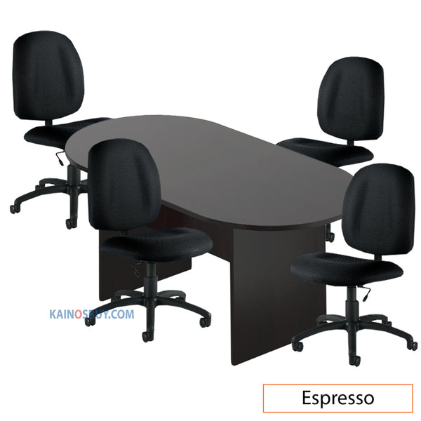 6ft. Racetrack Conference Table with<br>4 Chairs (G11650B) - Kainosbuy.com