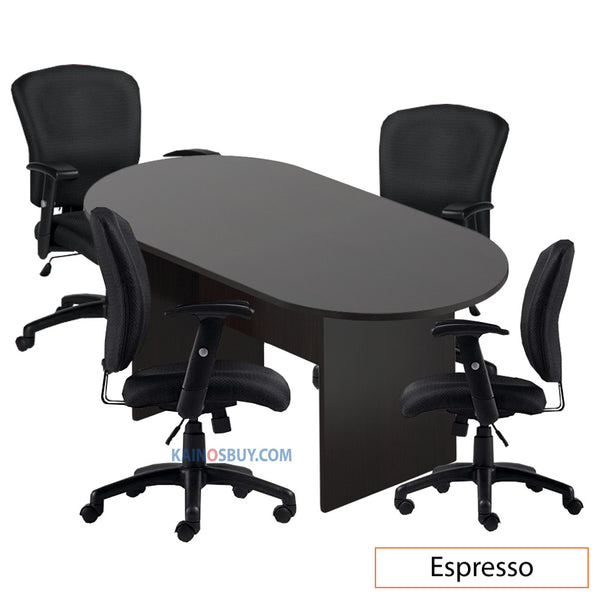 6ft. Racetrack Conference Table with<br>4 Chairs (G11850B) - Kainosbuy.com
