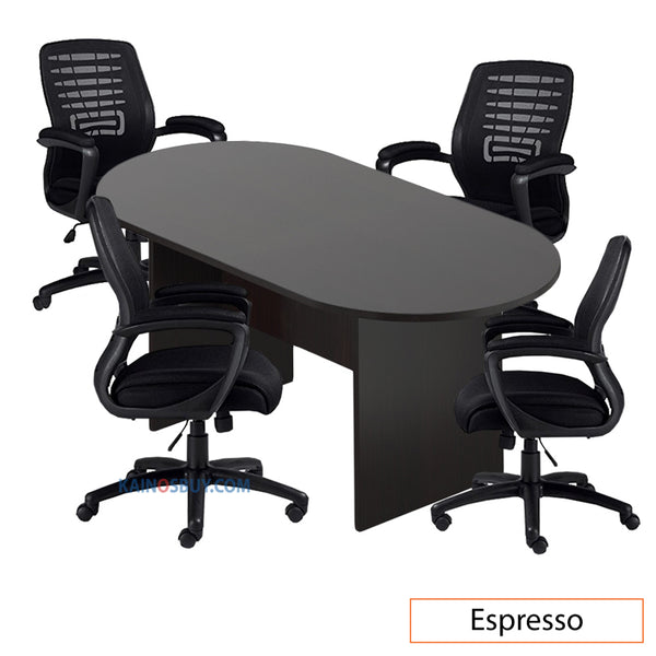 6ft. Racetrack Conference Table with<br>4 Chairs (G11750B) - Kainosbuy.com