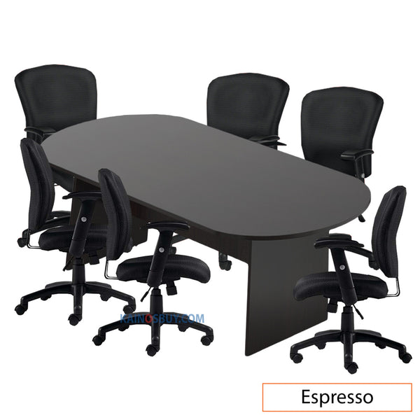 8ft. Racetrack Conference Table with<br>6 Chairs (G11850B) - Kainosbuy.com