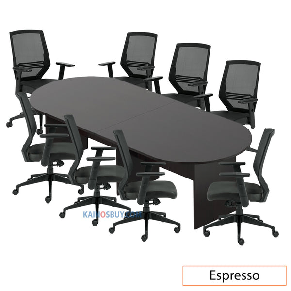 10ft. Racetrack Conference Table with<br>8 Chairs (G12112B) - Kainosbuy.com