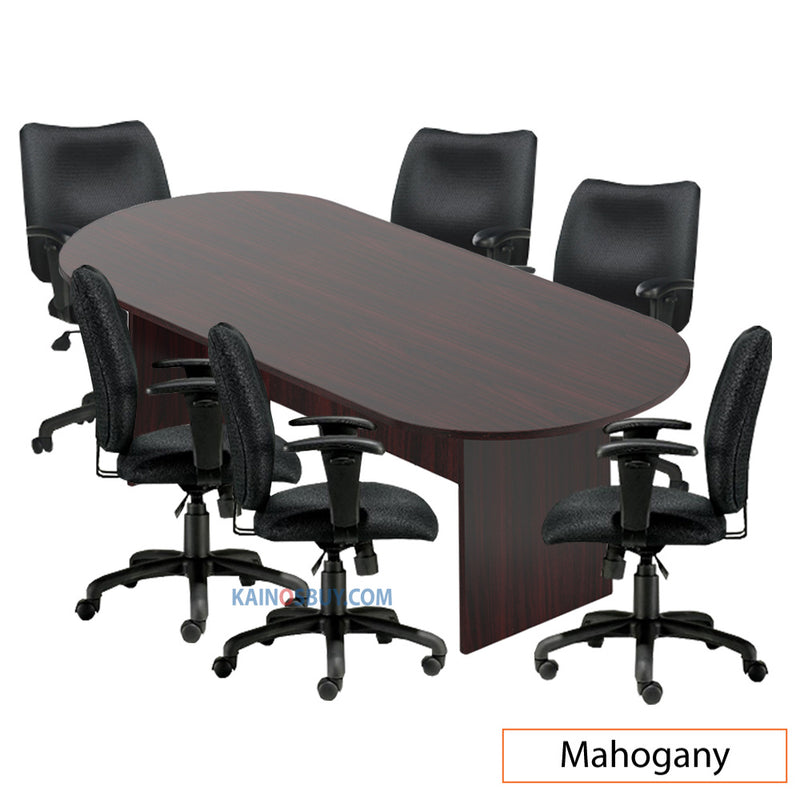 8ft. Racetrack Conference Table with<br>6 Chairs (G11612B) - Kainosbuy.com