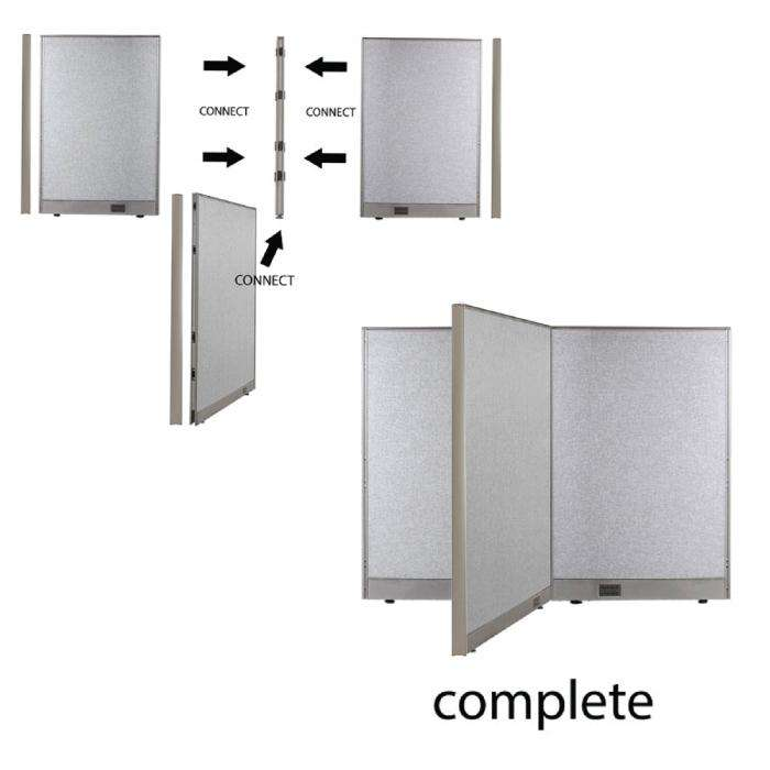GOF Office T-Shaped Partition 72D x 204W x 48H - Kainosbuy.com