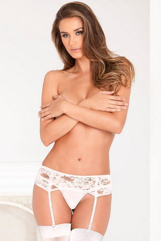 LACE GARTER BELT WHITE M/L