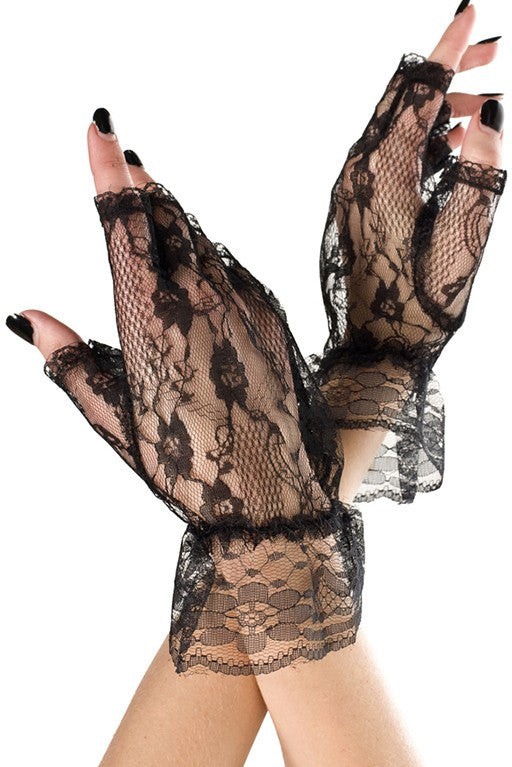 Fingerless Lace Gloves Black
