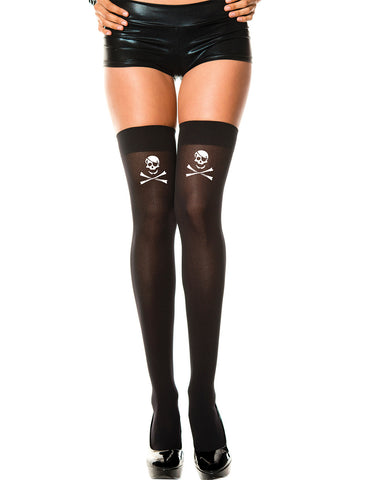 Crossbone Print Opaque Thigh Hi (Black)