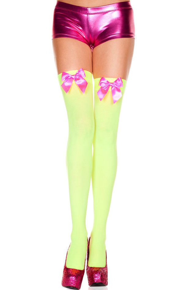 Opaque stocking with bow, thighHi (NeonGreen)