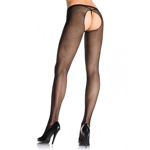OPEN CROTCH  FISHNET PANTY HOSE O/S BLACK