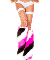 Rave Yeti Boot or Leg Warmer (Black, Hot Pink, White Stripe)