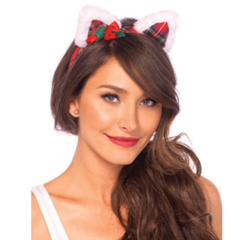 Christmas Kitty Ear Headband With Mini Holly Berry Bow O/S Multicolor