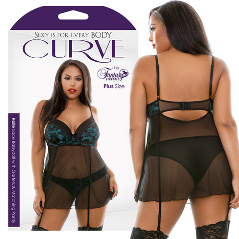 CURVE HALLE LACE BABYDOLL WITH GARTERS AND MATCHING PANTIES 1X/2X EMERALD GREEN