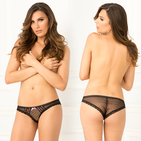 CROTCHLESS JAQUARD MESH & LACE PANTY S/M